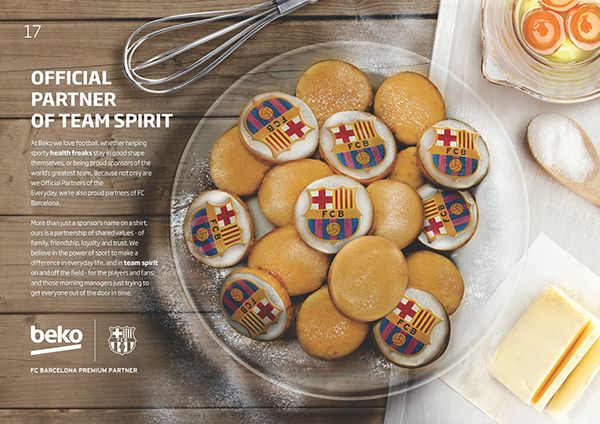 Beko dedicated Brochure Fan Pages to promote the partnership with FC Barcelona. Work done in Momentum Worldwide-McCann Bucharest #fcb #fcbarcelona #barcelona #cookies #photomanipulation #artdirection #drink #coffee #cookies #plate #chalk #drawing #football #soccer #fan #supporter #team #official #partner #beko #emblem #bake #butter #strategy #blackboard