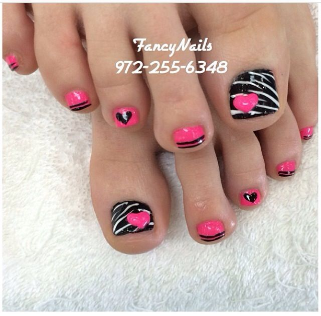 Black - Pink - White - Zebra stripes - Hearts - Toe nail designs
