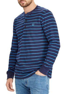 Chaps Men's Striped Waffle-Knit Henley Shirt - Navy - 2Xl