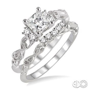 1 2 Ctw Diamond Wedding Set With Princess Cut Engagement Ring