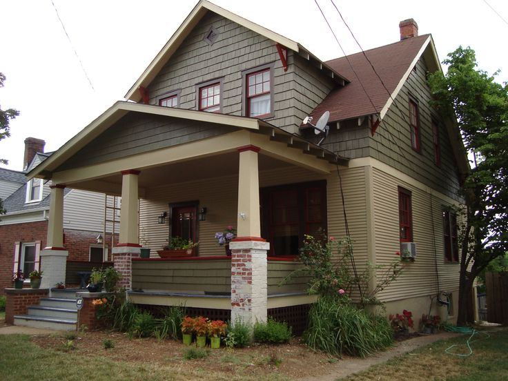 Exterior house color green tan and red tri color house - Brown exterior house paint ...