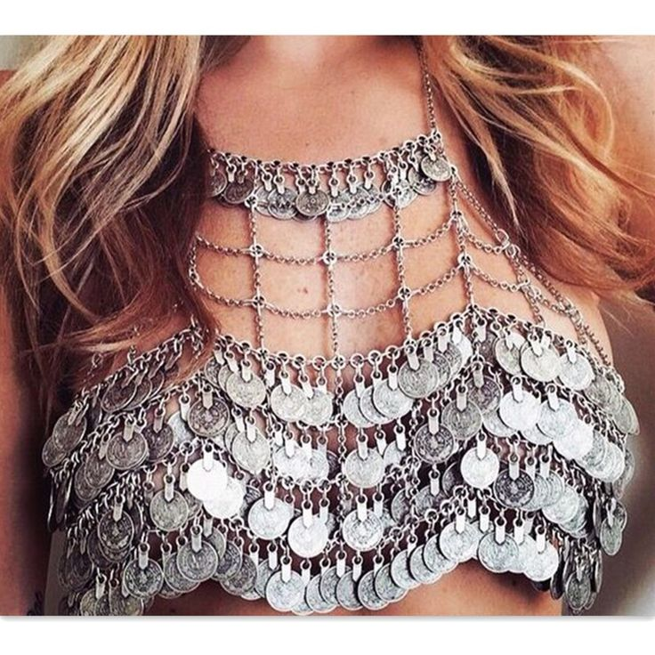 Ethnic Boho Bib Statement Choker Necklace Coin Pendant Sexy Beach Bra Body Chain