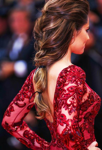 Cheryl Fernandez-Versini (then Cole) at Cannes film festival, 2013, with loose half braid
