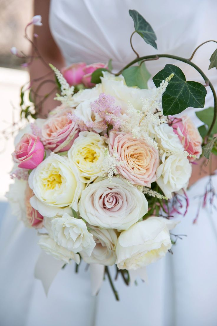 A lush bouquet of blush garden roses, ivory/cream garden ...