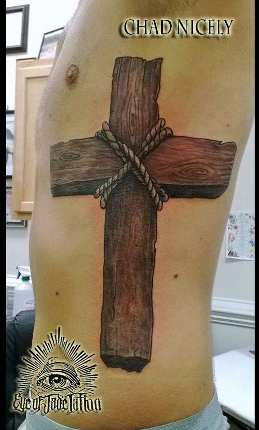 Realistic Wood Cross Rib Tattoo By Chad Nicely EyeofJadeTattoos