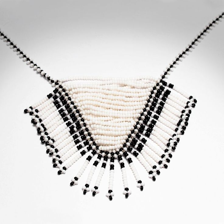 Native black and white necklace of the Guambianos indigenous community which can be found in Silvia - Cauca.  #Native #ColombianJewlery #Artisan #Necklace  via Leapher Workshop.   Click on the image to see more!