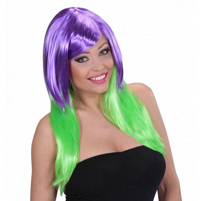 Tweekleurige damespruik paars groen  Damespruik duo kleur paars groen. Felle damespruik met lang haar waarvan de bovenkant paars is en de onderkant groen.  EUR 16.50  Meer informatie