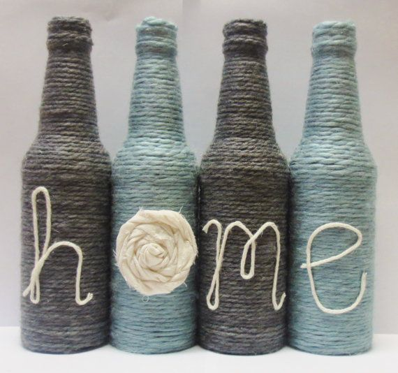 Yarn Wrapped Twine Bottles Home Decor by OrangeCreek on Etsy
