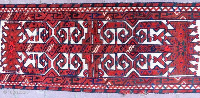 Antique Fragment Turkoman Tente band 1,16x43 cm Circa 1900