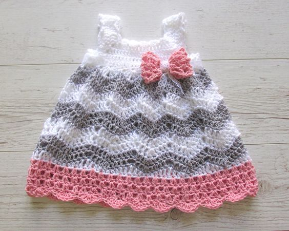Crochet Chevron Baby Dress Pattern : 713 best images about Vestiditos . Baby girl dress on ...