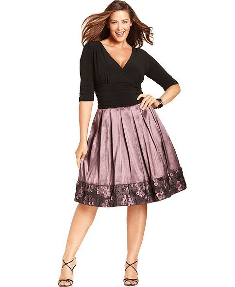 SL Fashions Plus Size Dress, Three-Quarter-Sleeve Ruched Pleated - Plus Size Dresses - Plus Sizes - Macy's