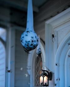 Spider Egg Sac: Halloween Parties, Glow Sticks, Eggs White, Spiders Eggs, Martha Stewart, Halloween Decor Ideas, Front Porches, Outdoor Halloween Decor, Eggs Sac