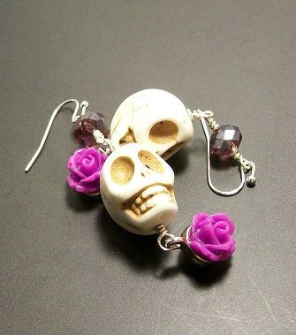 Sugar Skull Jewelry  Sugar Skull Earrings White by VivaGailBeads