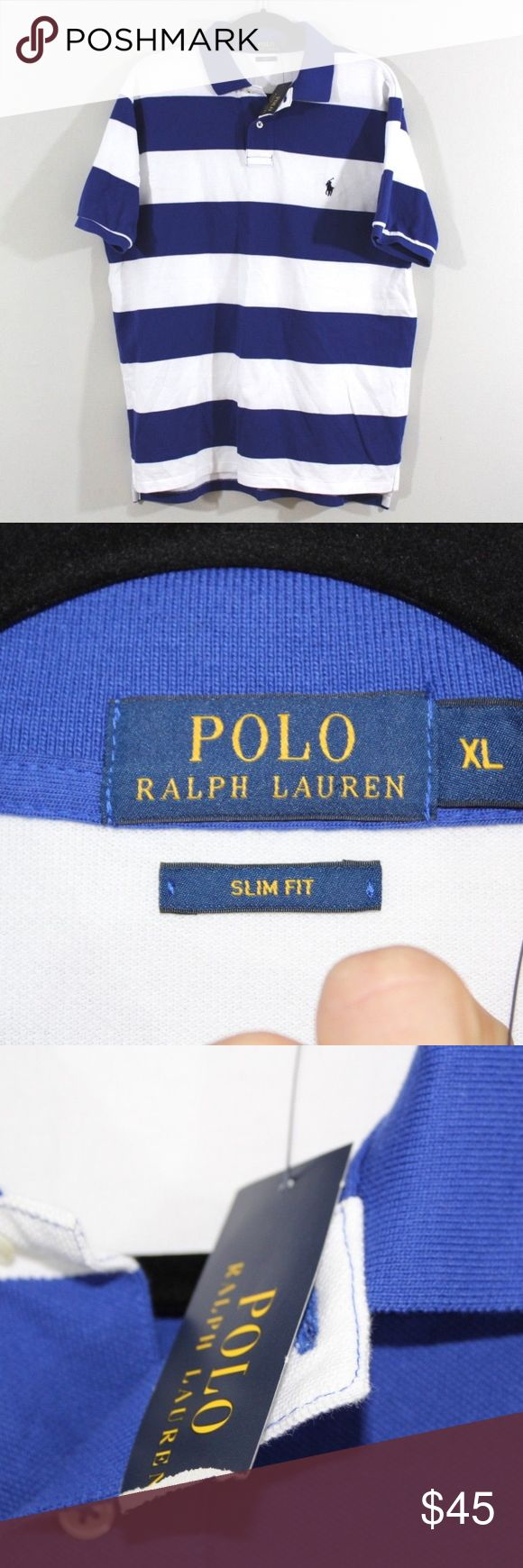 New Polo Ralph Lauren Slim Fit Golf Polo Shirt XL Polo by Ralph Lauren Slim Fit Shirt  Excellent shirt  New  Blue Striped with a Blue Pony logo  The size is XL and the measurements are 23.5 inches underarm to underarm and 28.5 inches shoulder to base  Cotton  Check out my other items for sale in my store!  MX Polo by Ralph Lauren Shirts Polos