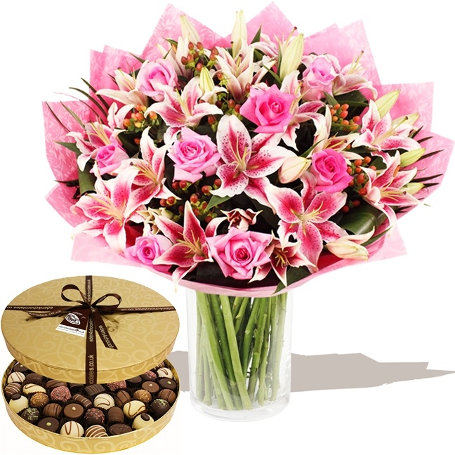 Flowers EASTER 2013  - Deluxe Pink Lily & Rose Hand-tied & Chocolates