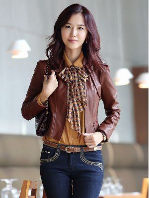 Chic Style Stand Collar Front Open PU Jacket