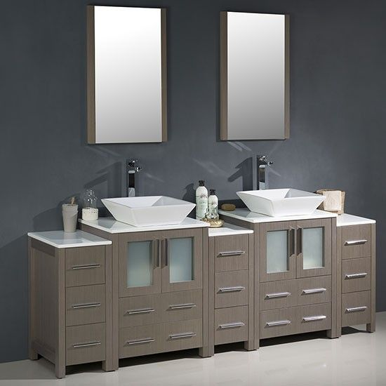 Web Image Gallery Fresca Torino double Inch Gray Oak Modern Bathroom Vanity with Vessel Sinks