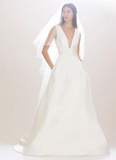 Carolina Herrera Fall 2016 satin a-line sleeveless wedding dress with plunging neckline | https://www.theknot.com/content/carolina-herrera-wedding-dresses-bridal-fashion-week-fall-2016