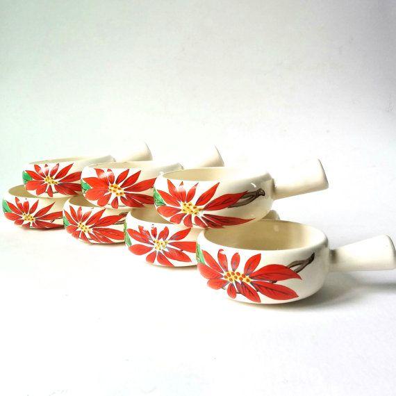 1940s Diana Poinsettia Ramekins. Set of Seven by RodwellandAstor
