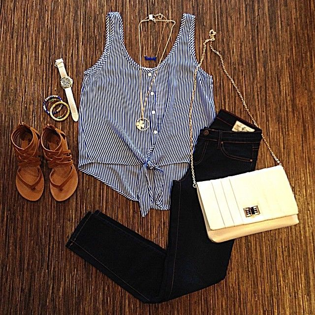 Perfect outfit for summer - sandals, skinny jeans, and a tank
