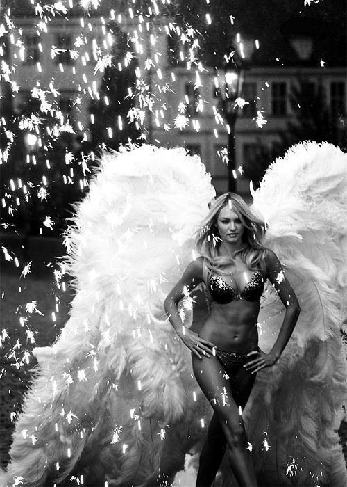 black and white angel wings-- Candice you are beautiful girl, next to adriana you are my favorite model! You go girl!! Such an inspiration!
