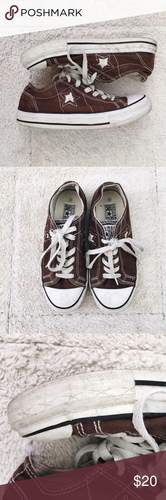 Brown Converse Pre-loved brown Converse. Stars along soles (pictured). Ask me questions! Add to a bundle to save 20%! Converse Shoes Sneakers