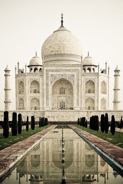 The Taj Mahal in Agra, India, was constructed by the Mughal Emperor Shah Jahan in memory of his wife.