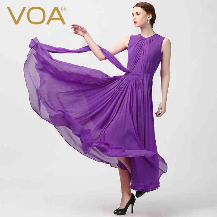 Encontrar Más Vestidos Información acerca de Seda de VOA 2016 de verano hermoso vestido de seda plisada grandes vestidos de swing A5551, alta calidad vestido de aire, China vestido de factor Proveedores, barato vestido de punk de VOA Flagship Shop en Aliexpress.com