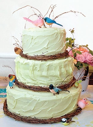 I love that this cake is reminiscent of a bird's nest. (Green Wedding Shoes via Martha Stewart Weddings Fall 2011)