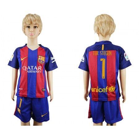 Barcelona Trøje Børn 16-17 #Ter Stegen 1 Hjemmebanetrøje Kort ærmer.199,62KR.shirtshopservice@gmail.com