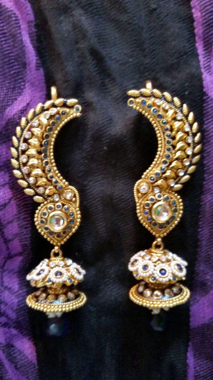 DC-020 ETHNIC BLUE KUNDAN PEARL GOLD TONE DESIGNER INDIAN BOLLYWOOD EAR CUFF EARRINGS #kundan #earcuff #earrings #bollywood #designer #jewelry  https://www.facebook.com/pages/Diya-Collections-Fashion-Jewelry/334859736697506