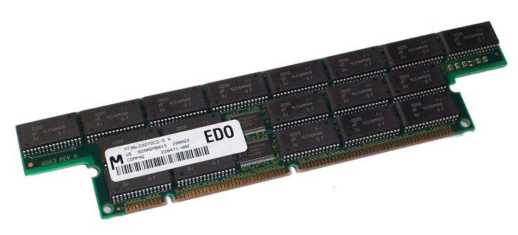 TIPO 3   EDO: o EDO-RAM, Extended Data Output-RAM. Evoluciona de la Fast Page; permite empezar a introducir nuevos datos mientras los anteriores están saliendo (haciendo su Output), lo que la hace algo más rápida (un 5%, más o menos). Muy común en los Pentium MMX y AMD K6, con velocidad de 70, 60 ó 50 ns. Se instala sobre todo en SIMMs de 72 contactos, aunque existe en forma de DIMMs de 168.