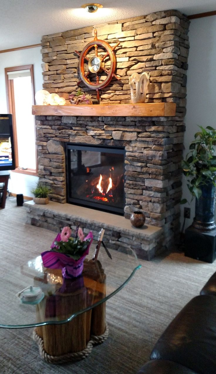 Kozy Heat Bayport 41 Gas Fireplace, Bucks County Southern Ledgestone, Indiana Limestone Hearth, Knotty Pine Hand Hewn Mantel