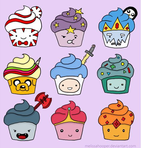 Peppermint Butler, LSP:Lumpy Space Princess, Ice King & Gunter, Jake & Lady, Finn, BMO, Marceline the Vampire Queen, PB:Princess Bubblegum, Flame Princess.The adventure Time characters as cupcakes.