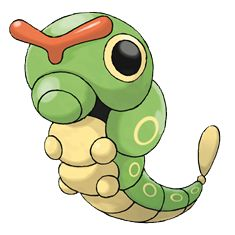 Caterpie - 010 - For protection, it releases a horrible stench from the antennae on its head to drive away enemies. Its feet have suction cups designed to stick to any surface. It tenaciously climbs trees to forage.  @PokeMasters.net