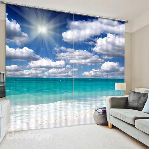 The Beautiful Scenery of Beach Print 3D Blackout Curtain on sale, Buy Retail Price 3D Scenery Curtains at Beddinginn.com
