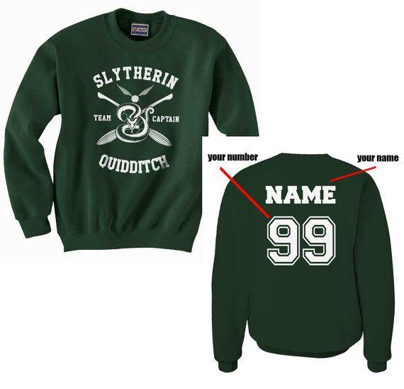 Benutzerdefinierten Namen und Zahl auf Rückseite Slytherin Quidditch-team-Captain WHITE Print auf Forest grün Crew Neck Sweatshirt