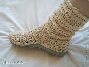 Обувь своими руками!!!или как бабушкины тапочки превратить в модные ажурные полусапожки))))) Вязание Вязание крючком