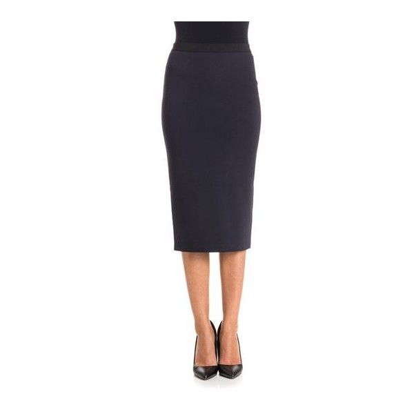 Jucca Pencil Skirt (€130) ❤ liked on Polyvore featuring skirts, rayon skirt, pencil skirts, blue skirts, back zipper skirt and blue pencil skirt