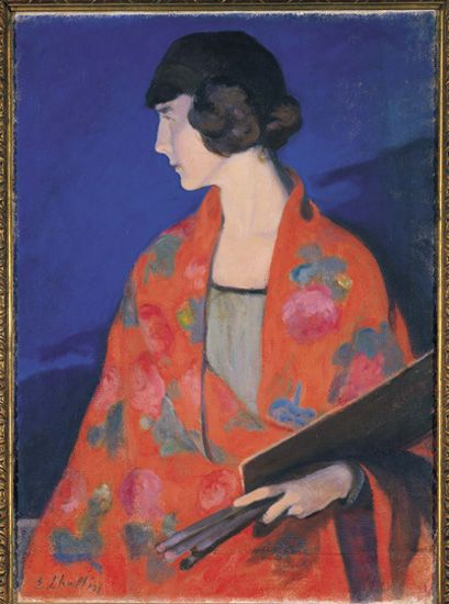 Self-portrait wearing a Red Shawl , Elisabeth Chaplin (1892-1982), 1912, Galleria d'arte Moderna, Florence, Palazzo Pitti, Italy