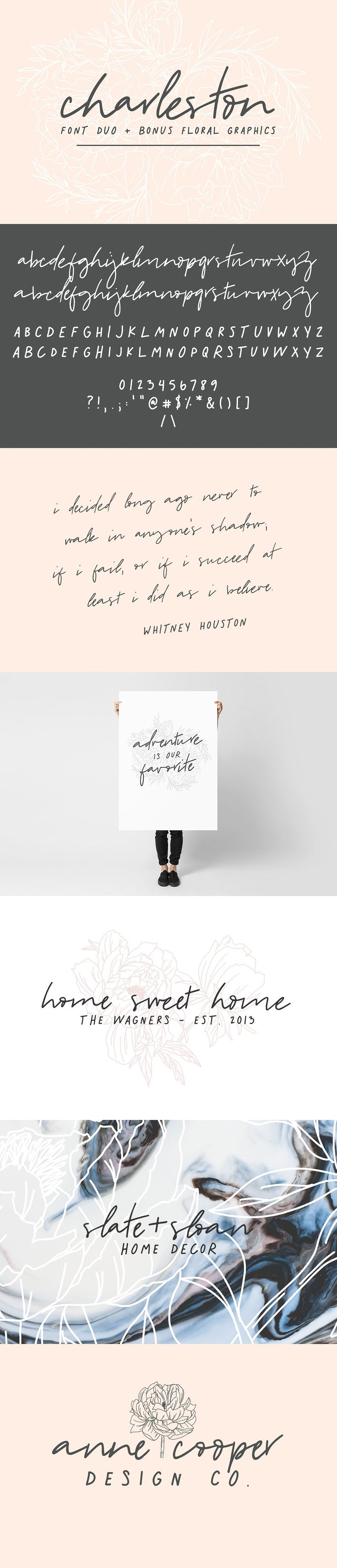 Charleston | Font Duo + Bonus Floral by Jen Wagner Co on @creativemarket