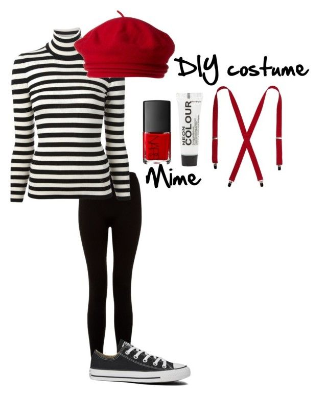 """""""DIY Mime costume"""" by speak-meow ❤ liked on Polyvore featuring Gucci, Converse, Topshop, NARS Cosmetics and Parkhurst"""