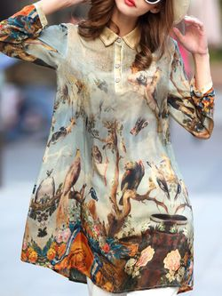 Printed Silk Mini Dress