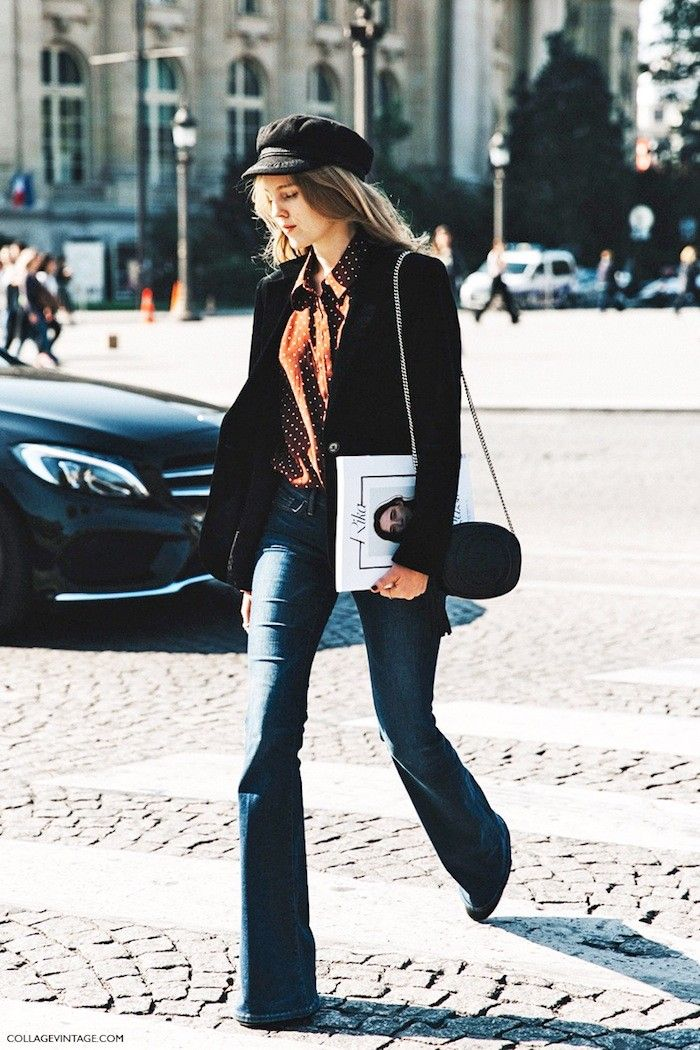 A Parisian-Chic Take on Flared Jeans via @WhoWhatWear