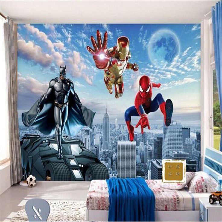 Фото обои 3d обои HD Мультфильм для детской комнаты спальня гостиная Супермен Бэтмен большой настенная живопись фреска обои