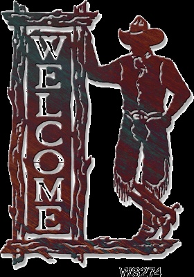A metal art welcome sign that features a cowboy holding on a cutout western log sign.