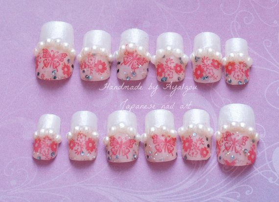 False nails, bridal, wedding, Japanese fake nails, french tips, butterflies and pearls,