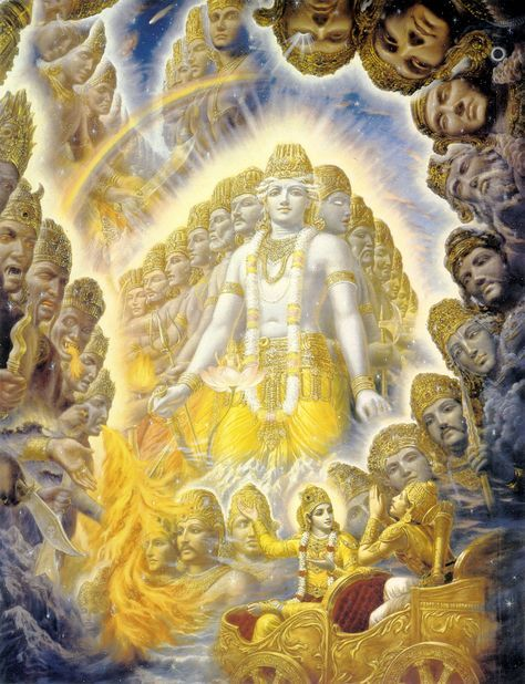 This is an amazing picture of the universal form that Krishna showed to Arjuna