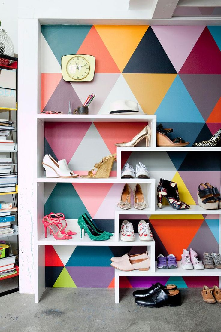 A playful paint job and some funky shelving are all it takes to create the feeling of having the world's coolest shoe boutique inside your very own home.
