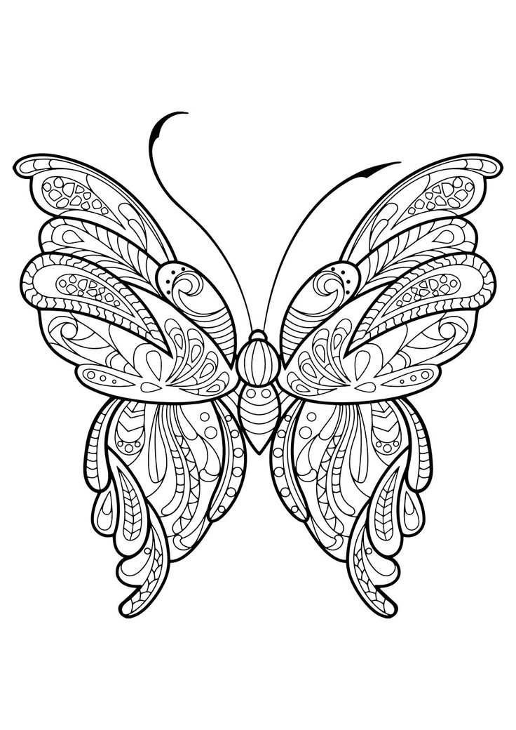 Adult Butterfly Coloring Book Joined Hearts Page
